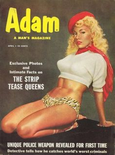 Strip tease artist Lilly Christine on the cover of Adam men's magazine, 1950s.