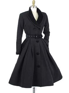 """Velvet Trimmed Vintage Style Black """"New Look"""" Inspired Coat DressThe """"Fontaine"""" is an elegant vintage style black coatdress inspired by the Dior """"New Look"""" fit and flared silhouette that revolutionized fashion from the late 40s into the 50s and 60s.  Can be worn as a dress or as a lightweight coat."""