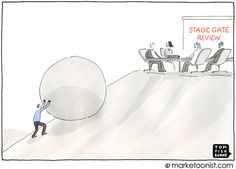 Innovation is not for the faint of heart. At times, managing innovation can feel like the myth of Sisyphus, repeatedly pushing a boulder up hill. Particularly when navigating the stage gate process. Business Signs, Business Entrepreneur, A Funny, Embedded Image Permalink, Innovation, Toms, Cartoon, Humor, Gate