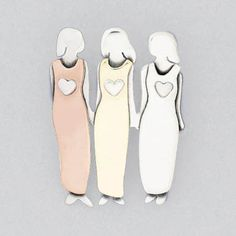 Three Loving Sisters Pin In Sterling Silver