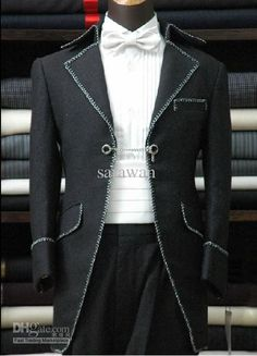 Wholesale Men Tuxedo - Buy Custom Made to Measure Men's BESPOKE Tuxedos, White Braid Black Men Suit Tailcoat,Tailored Tailcoat,wedding TailsJacket+Pants+tie+girdle, $128.98 | DHgate I AM INVENTING A NEW WORD ! STEAMPUNK PIMP !