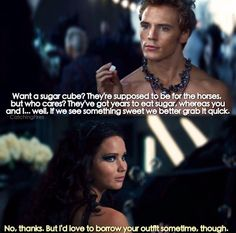 Finnick with the sugar cube in catching fire
