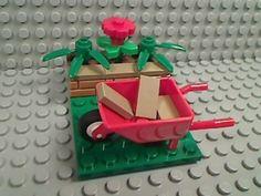 LEGO-GARDEN-WHEEL-BARROW-Flowers-Foliage-Bamboo-Dirt-Stones-City-Town-Friends