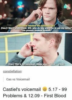 Oh my god Cas is the best character in the whole show xD I seriously love Supernatural Supernatural Destiel, Supernatural Tumblr, Supernatural Bloopers, Supernatural Wallpaper, Supernatural Fanfiction, Supernatural Tattoo, Supernatural Imagines, Sam Winchester, Supernatural