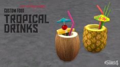 "ohmysims404: ""  Tropical Drinks These are non-alcoholic tropical drinks that sims can make on the bars. •  YOU NEED CUSTOM DRINK INTERACTION v1.4 or higher for the recipe to be available in game. • No mixology skill is required (Lv1) • These are..."