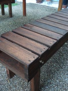 Pallet benches - love these.  He just cut off the other half, and then you already have the wood edging for the whole length.