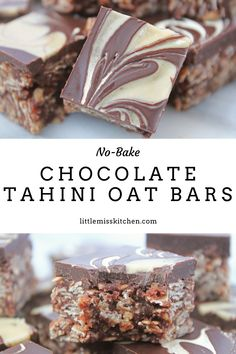 Ingredients: 1 cup runny tahini 1/2 cup melted coconut oil, cooled slightly 1/2 cup maple syrup 4 tablespoons dairy-free milk 2 1/2 cups old-fashioned rolled oats (NOT QUICK COOKING) 6 tablespoons cocoa powder pinch of sea salt 2 teaspoons of vanilla topping: 1 1/3 cups of chocolate chips/chunks + 2 tablespoons of tahini optional: extra tahini to swirl into chocolate topping