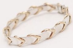 "Why have I never seen this before??? | 14k Gold and Sterling Silver ""Leather Rein""  Bracelet"