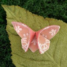 Бабочка из ткани техникой оригами   Поделки своими руками