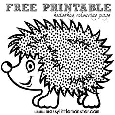 FREE PRINTABLE hedgehog colouring page to make a leaf hedgehog. A simple autumn / fall leaf craft and activity idea for kids. Prefect for toddlers, preschoolers, eyfs.