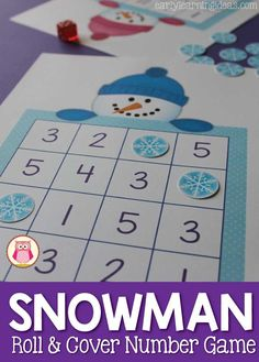 A fun free math game for kids this winter- roll and cover a snowman! A fun hands-on way to work on number recognition in preschool, pre-k and kindergarten. #wintermathcenters #snowmanmath