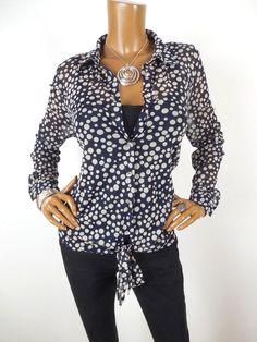 0fd91d65a11607 Details about INC Womens Top L SEXY Tie Front Shirt Sheer Polka Dot Gem  Buttons Navy Long Slvs