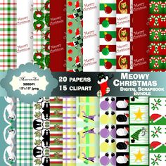 Meowy Christmas Scrapbook bundle - Digital Paper, Clip art, clipart Christmas Clipart, Merry Christmas, Christmas Scrapbook, Art Clipart, Paper Clip, Clip Art, Digital, Holiday Decor, Unique Jewelry