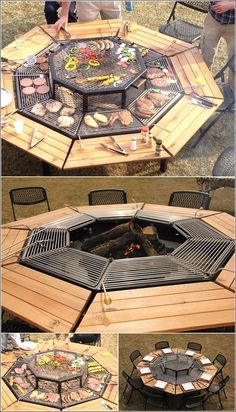 A Grill/Fire Pit/Party Table, all in one!   Save a spot for the cook to reach in towards the main center grill.  Very cool !