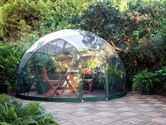The Garden Igloo is a Pop-Up Geodesic Dome Perfect for Any Backyard • http://inhabitat.com/garden-igloo-geodesic-dome-is-made-from-100-recyclable-materials/garden-igloo-geodesic-dome/?extend=1