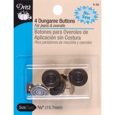 DRITZ-Dungaree Button Kit. No-sew dungaree buttons are attached like a snap. This package contains four 5/8in buttons. Available in a variety of finishes: each sold separately. Imported.