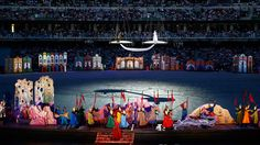 Artists perform on stage during the opening ceremony of the 1st European Games in Baku, Azerbaijan, June 12 , 2015. (Reuters / Kai Pfaffenbach)