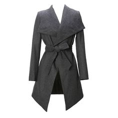 Gray Long Large Lapel Slim Wool Coat ($89) ❤ liked on Polyvore