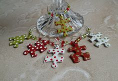 Wine Charms Upcycled Puzzle Pieces Christmas by savardstudios, $17.95
