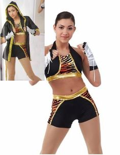 Eye Of The Tiger Crop Top,Shorts,Boxer Robe Halloween Dance Costume Child/Adult #Cicci