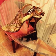 Schutz Caged Heels Hot gold leather caged heels.  Your legs will never look so good. Absolutely fab.  No creasing, scuffs or marks. These shoes are in perfect condition. SCHUTZ Shoes