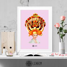 Ethnic crown print Modern wall art Vintage home por LehaimDesign