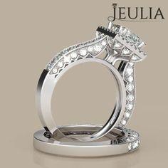 Jeulia Halo Princess Cut Created White Sapphire Wedding Set