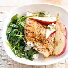 Sage rubbed turkey steaks, crumbled blue cheese and warm pears top a bed of spinach in this healthy dinner recipe: http://www.bhg.com/recipes/quick-easy/dinners-30-minutes-less/30-minute-heart-healthy-dinner-recipes/?socsrc=bhgpin101013turkeysteaksalad&page=6