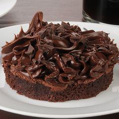 Mini Chocolate Cake Dessert with Whipped Chocolate Buttercream Frosting on Top! Tag a Chocolate Lover!