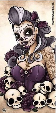 Day of the Dead skull pinup