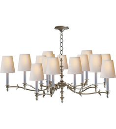 Visual Comfort Thomas OBrien Large Chandler Chandelier in Burnished Silver Leaf and Natural Paper Shades TOB5111BSL-NP | Visual Comfort Lighting Lights | Visual Comfort | Visual Comfort Lighting | Alexa Hampton | Visual Comfort Sconces | Lighting New York | Lighting Fixtures