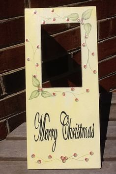 Picture Frame / Wooden Frame / Christmas Decor / Wall Decor / Wall Plaque / Glitter / Yellow / Red / Gold by AnEnchantedAtelier on Etsy