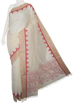 White & Red Bengal Cotton Silk Saree with Blouse