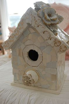shabby white mosaic birdhouse by bellawood