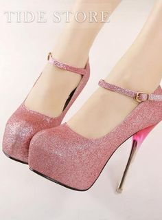 Fashion Candy Color Pointed Toe Buckle Stiletto Heels Platform Women Shoes