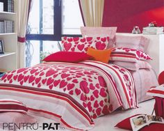 Lenjerie de pat 100% bambus Pucioasa cu inimioare Comforters, Blanket, Bed, Home, Stream Bed, House, Ad Home, Rug, Homes