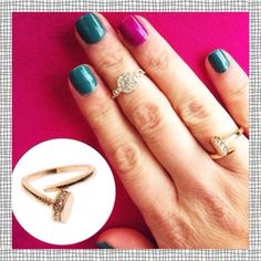 SALE Gold Plated Nail Wrap Ring Sparkly Pave✨ Beautiful gold plated nail wrap ring.                      ✨depending on size, can be worn as a midi ring.                                                                     ✨hypoallergenic gold plated.                               ✨These are so pretty!                                           ✨Line of sparkly pave rhinestones wrapping the nail head adds so much                               ✨OTHER SIZES AVAILABLE T&J Designs Jewelry Rings