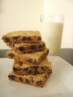 Chocolate Chip Cookie Bars - so much easier than drop cookies and it doesn't call for softened butter so they are really quick to prep!