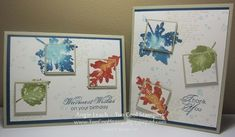 Gently Falling and French Foliage stamp sets, as well as a combination of watercolor spritz and double-time spotlighting techniques