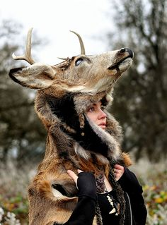 Incredible!!!!    Deer Headdress on Flickr. Model and Taxidermy: NaturePunk.     Photography courtesy of: Casey Louise.  http://lightningboltthis.tumblr.com/page/8