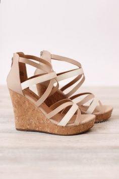 GRACEFULLY YOURS CORK WEDGE IN CREAM AND NUDE