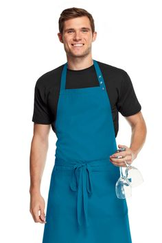 Simon Jersey teal bib apron from £6.29 // Waiter apron, waitress apron, bar apron, hospitality uniform, waiting uniform, bar uniform, perfect for chefs, kitchen staff, catering, retail, cafes, coffee shops, hospitality, hotels, hoteliers etc.
