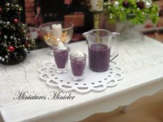 Miniature Dollhouse Blueberry and Creme Milk Shake Set by Minicler