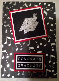 Hand made Graduation card with musical notes background and graduation cap stamping  on Etsy, $3.00