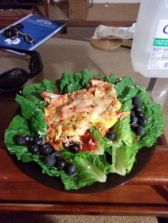 My spin off of a chili sauce and romaine lettuce leaf snack. Topped off with blue berries and fried eggs with cheese makes a meal!