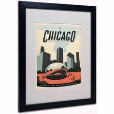 Trademark Fine Art Chicago Cloud Gate Canvas Art by Anderson Design Group, White Matte, Black Frame, Size: 16 x 20