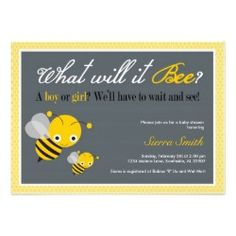 What will it Bee? Bee themed baby shower invitation.