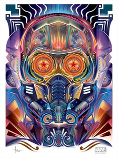 Starlord in Dia de los Muertos style illustrations for Marvel.