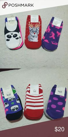 Bundle of girls socks. NWT One size 3 packs of girls socks. 9 pairs total. P.s. FROM aeropostale.   1st pack has a panda theme, plus 1 pair of pink socks. 2nd pack has a kitten/reindeer theme, a pair of solid red, and a pair of candy cane stripes.  3rd pack has a horse theme, a pair of gray socks, and a pair of polka dots.   All new in package.   Each pack retails at $10.50.   Package reads one size Aeropostale Other