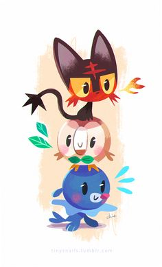 """Can't wait to see their evolutionary forms. I like Litten best, followed by Popplio (reminds me of Stefano from Madagascar 3 xD) and Rowlet (rhymes with """"Toe-let"""" or """"Cow-let?"""")...but all three are adorable. Not the most original designs, sure...we've got a number of cat/feline, owl/bird, and seal/pinniped Pokemon already. I'm sure they could've thought of a few species that have yet to be Pokefied. But ah, well. They're cute. Guess I know what I'll probably be getting my brother for…"""
